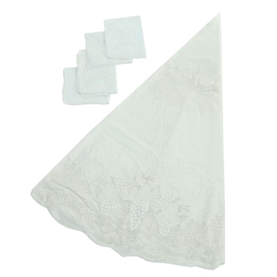 Round Embroidered Tablecloth with Matching Napkins
