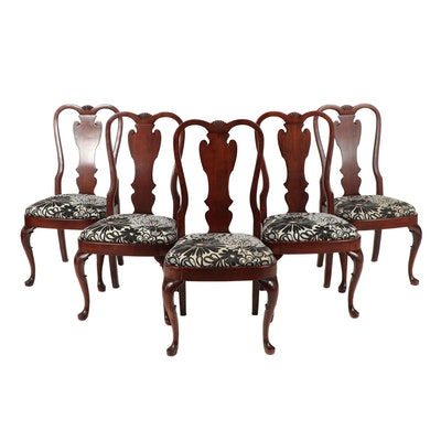 Queen Anne Style Side Chairs with Contemporary Upholstered Seats, Set of 5