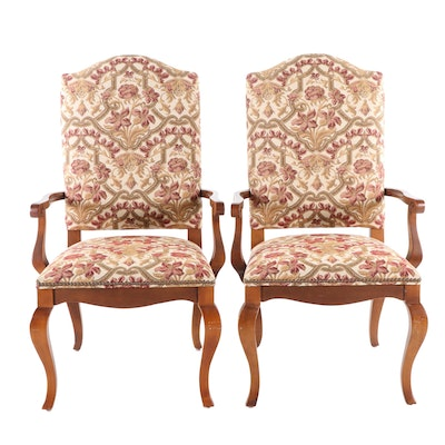 Pair of Ethan Allen French Provincial Style Upholstered Armchairs, 20th Century