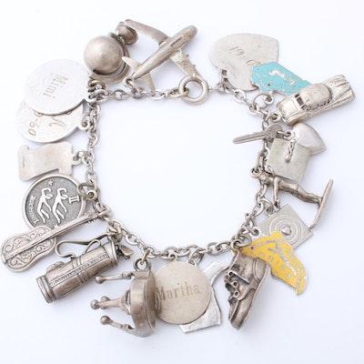 Sterling Silver Charm Bracelet, Vintage