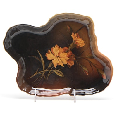 Elizabeth Neave Lincoln Rookwood Pottery French Marigold Centerpiece Tray, 1894