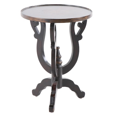 Contemporary Round Painted and Decorated Wood Accent Table