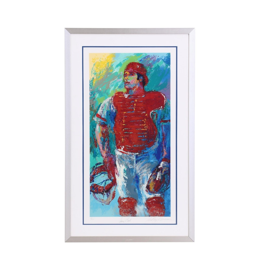 Framed Signed and Numbered Johnny Bench and LeRoy Neiman 1989 Serigraph   COA