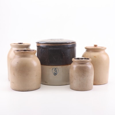 Salt-Glazed Stoneware Lidded Fermentation Crocks, Late 19th/Early 20th Century