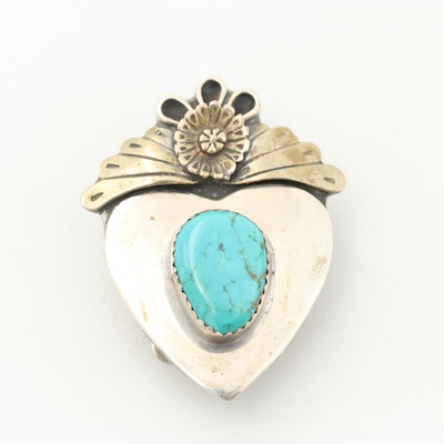 Silver Tone Turquoise Bolo Slide With Bennett Clip
