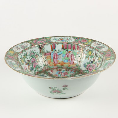 Chinese Rose Medallion Ceramic Centerpiece Bowl