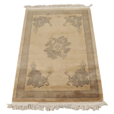 Hand-Knotted and Carved Chinese Peking Wool Rug