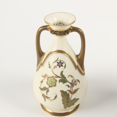 Royal Worcester Gilded Porcelain Vase with Floral Motif and Pierced Collar, 1883