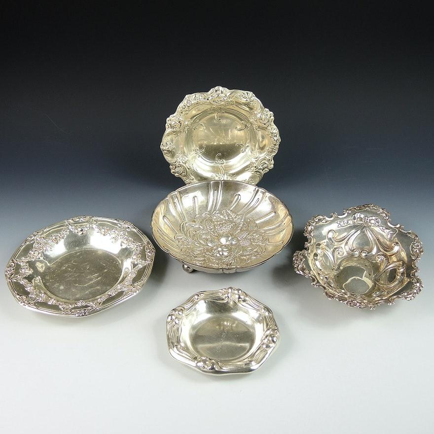 Sterling Silver Embossed Bowls Including Gorham