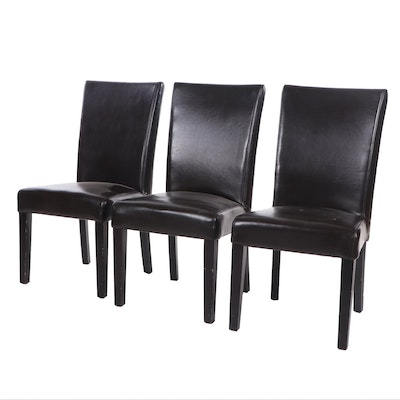 Three Contemporary Modern Faux Leather Upholstered Side Chairs
