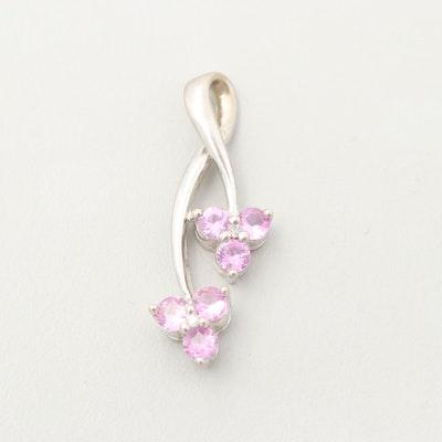 10K White Gold Pink Sapphire and Diamond Pendant