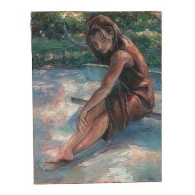 Tom Steck Figural Oil Painting