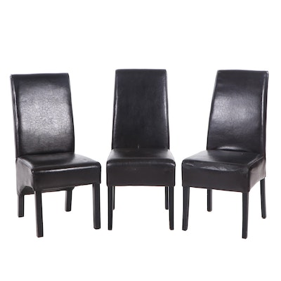 Three Contemporary Faux Leather Upholstered Side Chairs