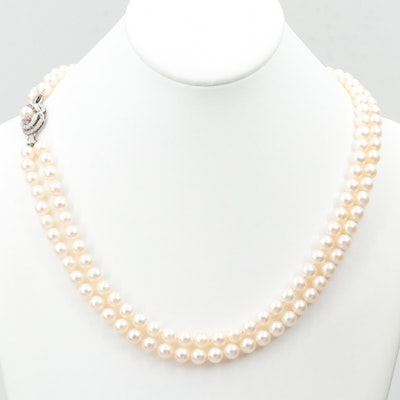 Double Strand Cultured Pearl Necklace with Ruby Encrusted 18K White Gold Clasp