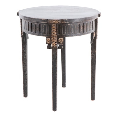 Contemporary Neoclassical Style Round Crackled, Black-Painted Wooden Side Table