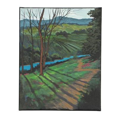 """Douglas """"Bumo"""" Johnpeer Oil Painting """"Vineyard Path"""""""