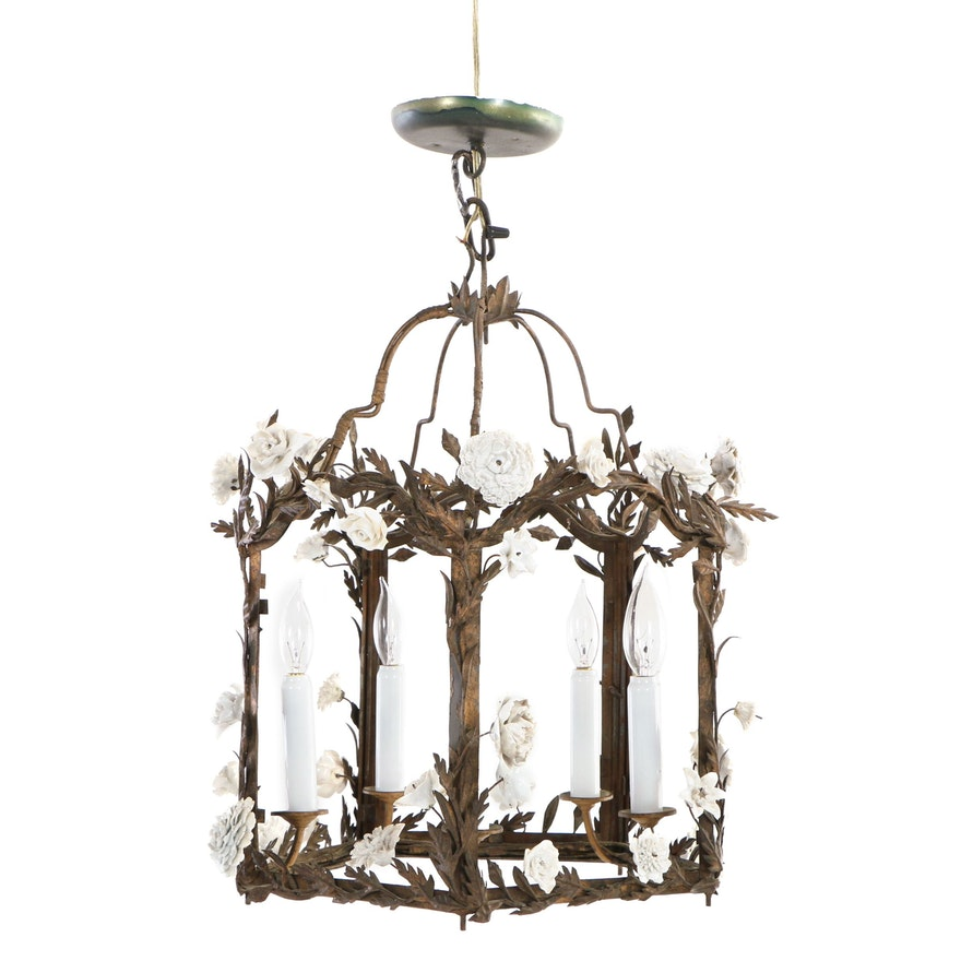 French Foliate Chandelier with White Porcelain Flowers, Early 20th Century