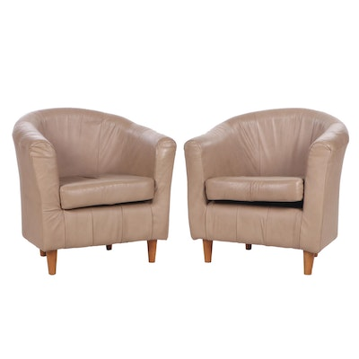 Pair of Contemporary Ercu Faux-Leather Upholstered Armchairs