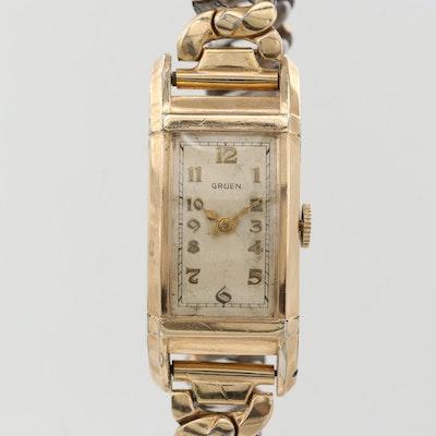 Vintage Gruen Gold Tone Stem Wind Wristwatch