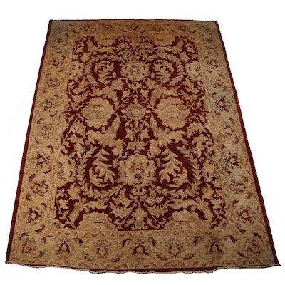 Hand-Knotted Pakistani Floral Wool Room Sized Rug