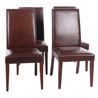 Four Contemporary Faux Leather-Upholstered Parson's Style Side Chairs