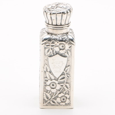 British Repoussé and Chased Sterling Silver Vanity Jar with Glass Lining, 1890