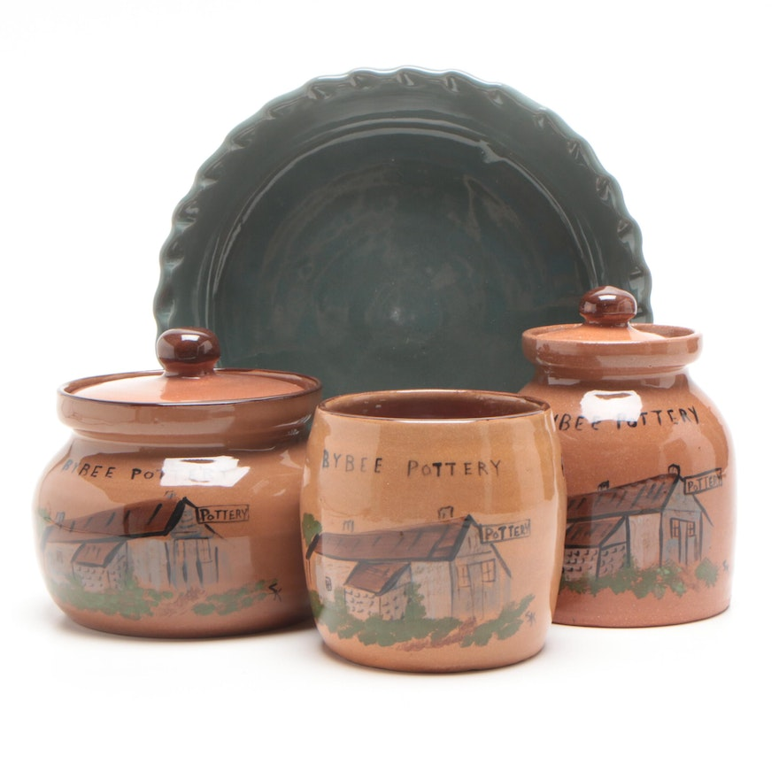 Bybee Pottery Canisters, Pie Plate and Candleholder, 1990s