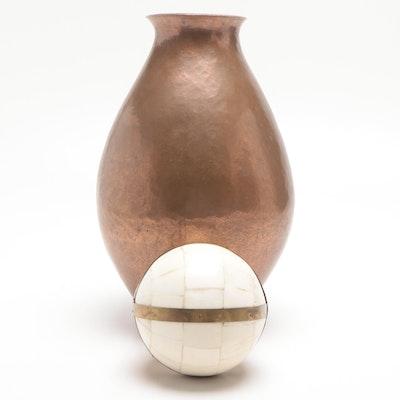 Copper Vase and Decorative Tessellated Bone Orb
