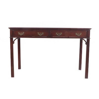 George III Style Leather Top Mahogany-Finish Writing Table, 20th Century