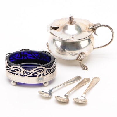 British Sterling Silver Salt Cellars and Spoons, Early 20th Century