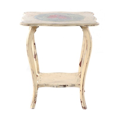 Contemporary Fruit Motif Distressed Painted Finish Wooden Side Table