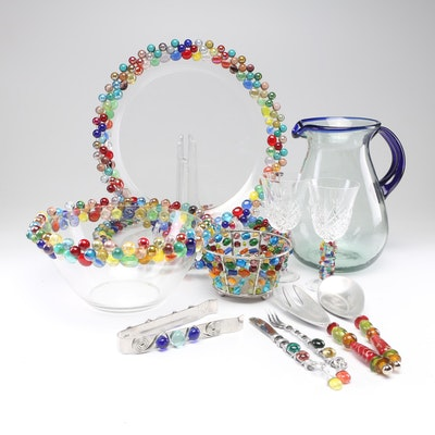 Arcoroc Marble and Bead Embellished Serveware and Other Glass Serveware