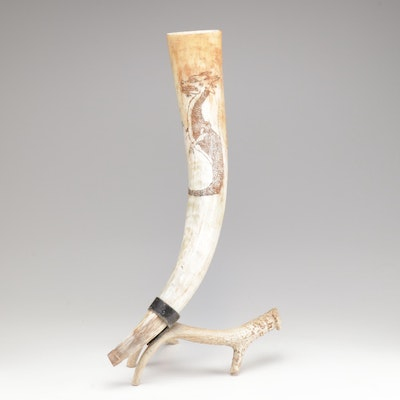 Decorated Horn and Antler Sculpture