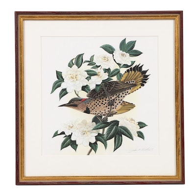"Offset Lithograph After John Ruthven ""Flicker and Camellias"""