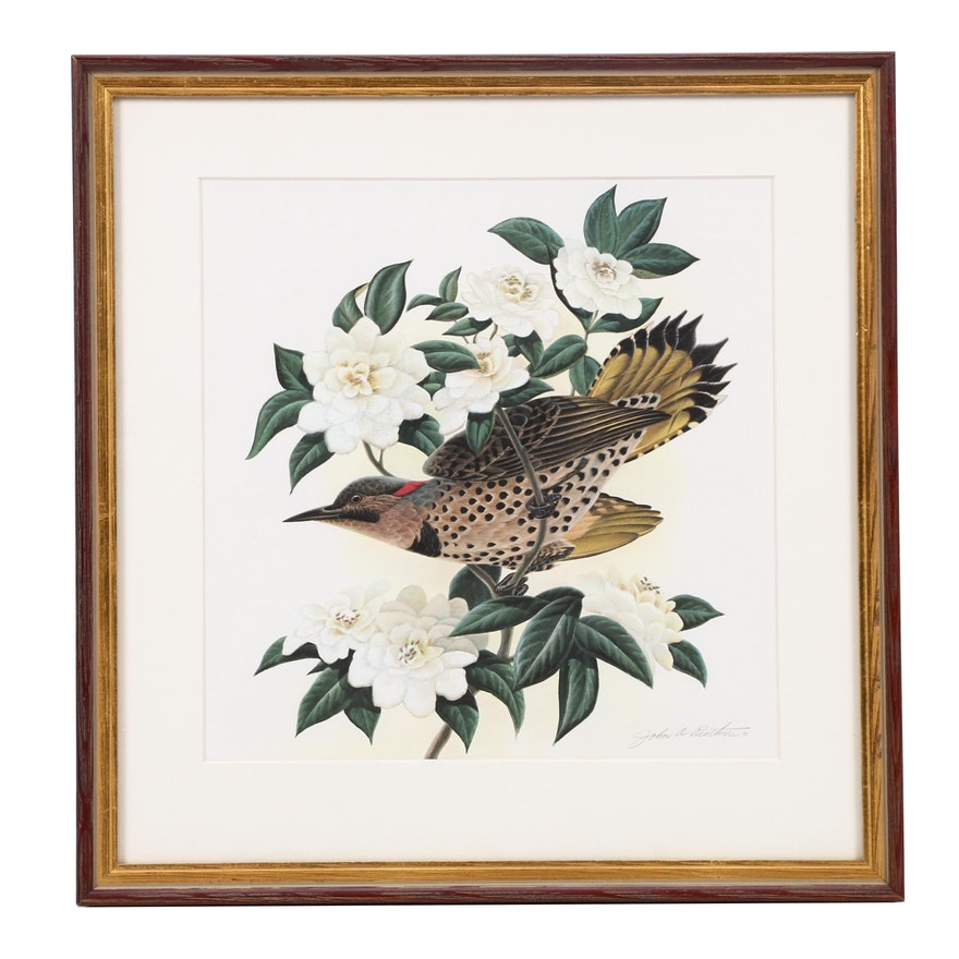 """Offset Lithograph After John Ruthven """"Flicker and Camellias"""""""