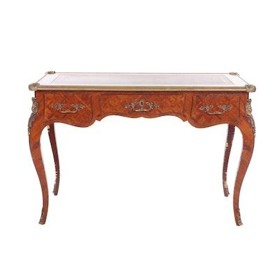 Louis XV Style Tulipwood Parquetry Leather Top Bureau Plat, Mid-20th Century