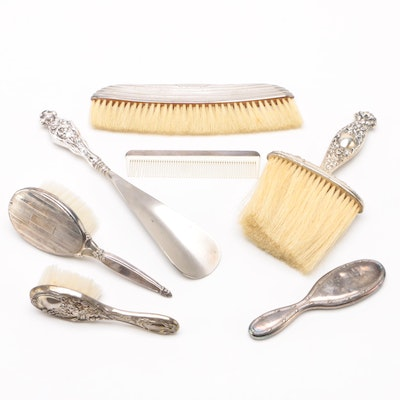 Vanity and Grooming Pieces Including Repoussé Sterling Silver
