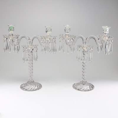 Glass Candelabra Pair with Hanging Pendants