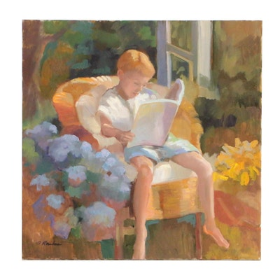 "Sally Rosenbaum Figural Oil Painting ""Reading in my Mother's Garden"""