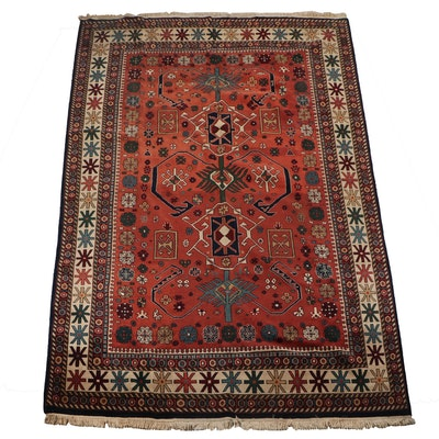 Hand-Knotted Sino-Persian Shirvan Wool and Cotton Area Rug