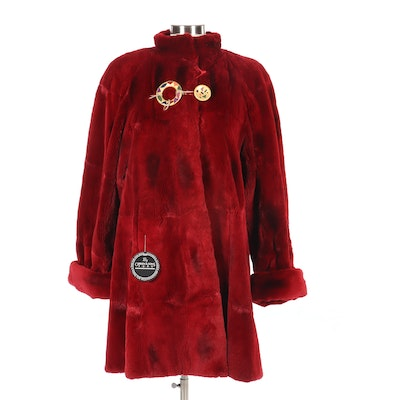 Dyed Red Sheared Rabbit Coat from NH Rosenthal Furs of Chicago