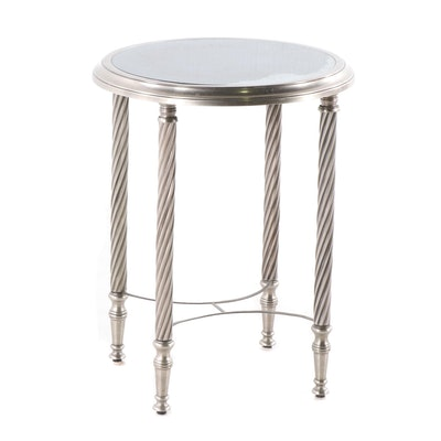 Contemporary Silvered Metal and Mirror Top Side Table