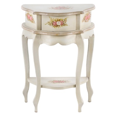 Floral Motif Painted Wooden Side Table, Late 20th Century