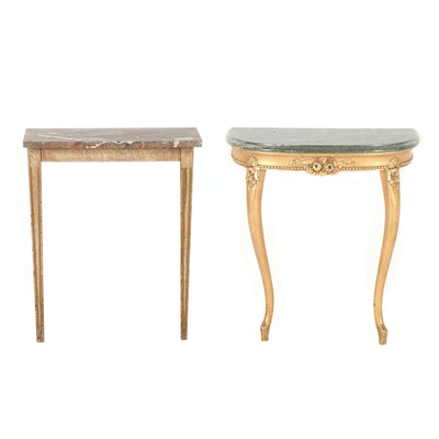 Two Marble Topped Non-Matching Wall Mounted Entry Tables One is a Demi Lune