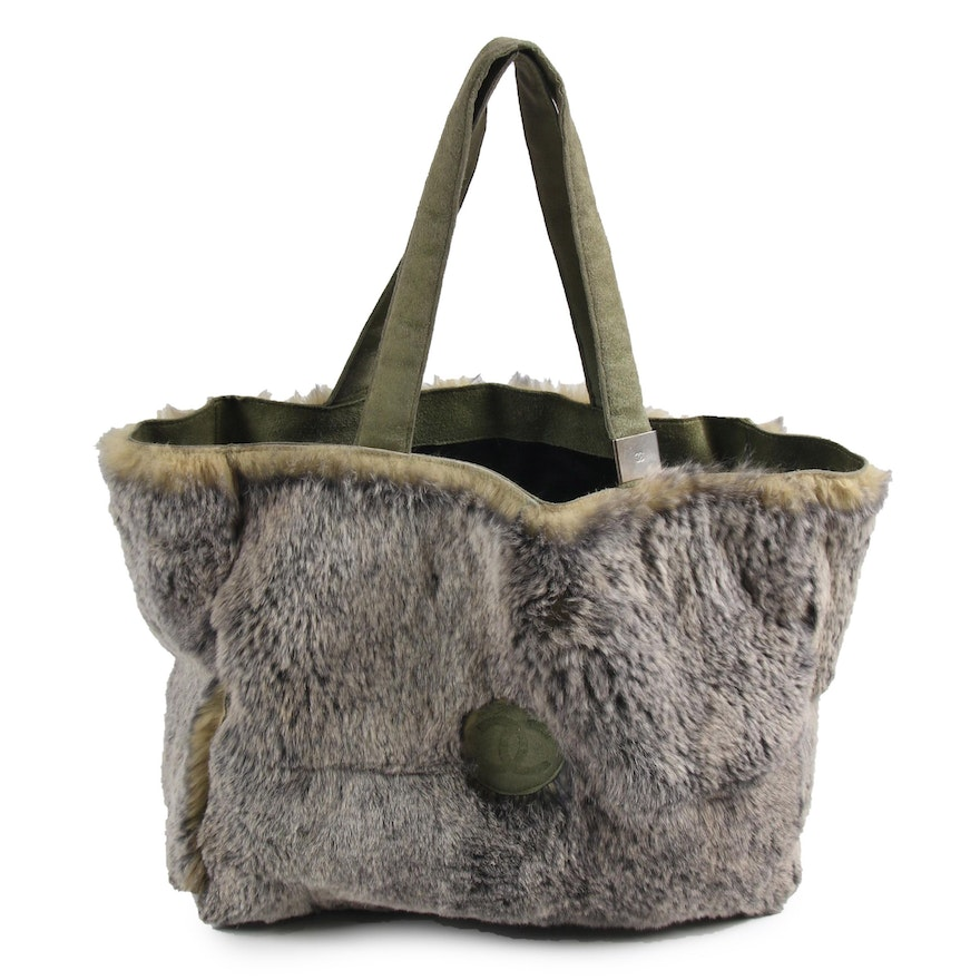 Chanel Lapin Dyed Rabbit Fur and Green Suede Tote with Zip Pouch