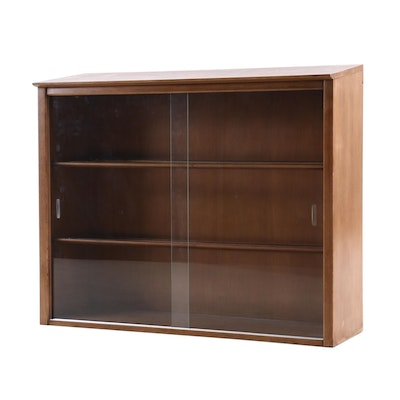 Mid Century Modern Drexel Walnut Illuminated Glass Front Display Cabinet
