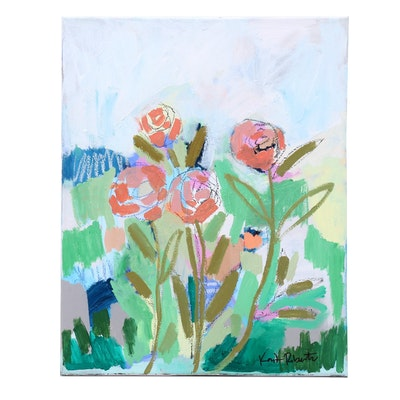 "Kait Roberts Mixed Media Painting ""The Garden in May"""