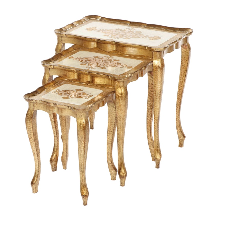 Florentine Gold Tone Painted Wooden Nesting Tables, Set of Three