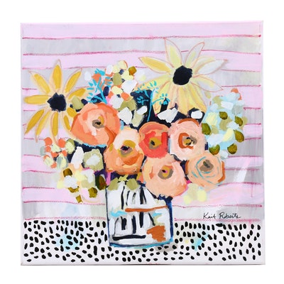 "Kait Roberts Mixed Media Painting ""Pink Lemonade"""