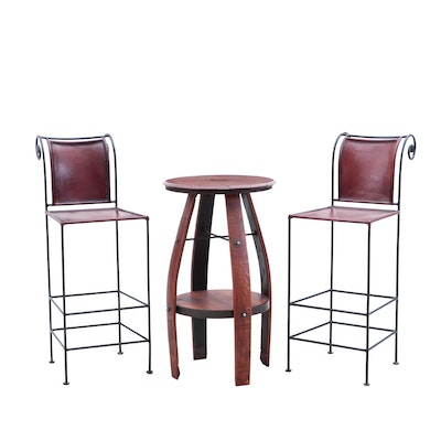 French Oak Wine Barrel Bistro Table and Leather Bar Stools
